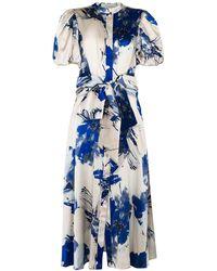 Silvia Tcherassi Ophelia フローラル シルクドレス - ブルー