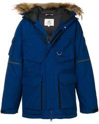 Pyrenex Parka à capuche bordée de fourrure - Bleu