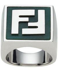 Fendi Ff Motif Ring - Metallic