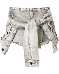 Alexander Wang - Tie Jacket Denim Shorts - Lyst