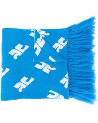 Courreges モノグラムプリント スカーフ - ブルー