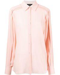 Rochas プリーツディテール シルクシャツ - ピンク