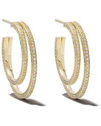 Georg Jensen - 18kt Yellow Gold Halo Brilliant Cut Diamond Hoop Earrings - Lyst