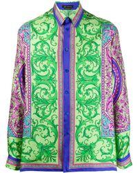 Versace Camisa con motivo Barocco - Verde