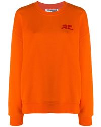 Courreges Logo-embroidered Sweatshirt - Orange