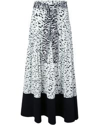 Proenza Schouler Pleated Zebra-print Skirt - Blue