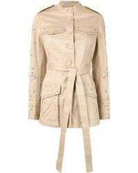 Erdem Embroidered Belted Jacket - Brown