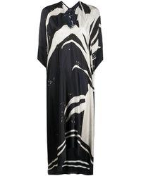 Masnada Vestido midi con estampado abstracto - Negro