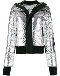 Paco Rabanne Printed Logo Puffer Jacket - Metallic
