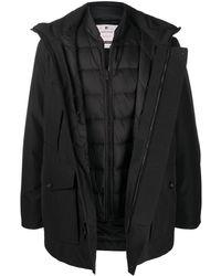 Woolrich ダブルレイヤー フーデッドコート - ブラック
