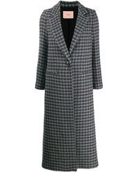 Twin Set Однобортное Пальто В Ломаную Клетку - Серый