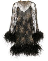 Saint Laurent Sunburst Bead-embellished Mini Dress - Black