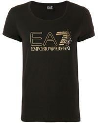 EA7 Logo Print T-shirt - Black