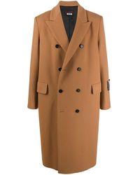 MSGM Двубортное Пальто Оверсайз - Естественный