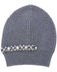 N°21 - Crystal Embellished Ribbed Beanie - Lyst