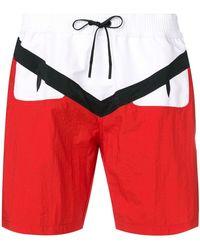 Fendi Плавательные Шорты С Логотипом Bag Bugs - Красный