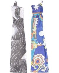 Chopova Lowena Chaussettes en mesh à imprimé graphique - Bleu