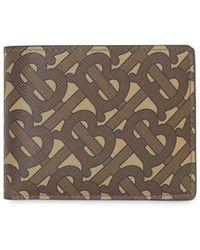 Burberry Portefeuille brun Monogram E-Canvas - Marron