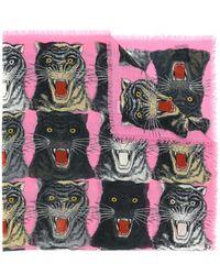 Gucci - Tiger Face Print Shawl - Lyst