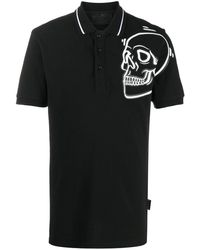Philipp Plein Outline Skull ポロシャツ - ブラック