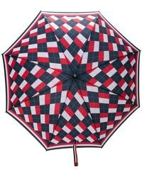 Thom Browne - Argyle Crooked Handle Umbrella - Lyst