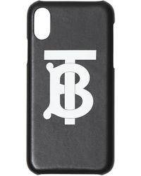 Burberry Coque pour iPhone X/XS en cuir Monogram - Noir