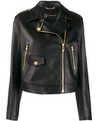 Versace Cropped-Bikerjacke mit Sicherheitsnadeln - Schwarz