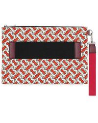 Burberry Monogram Print Zip Pouch - Red