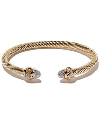 David Yurman - 18kt Yellow Gold Renaissance Diamond Cuff Bracelet - Lyst