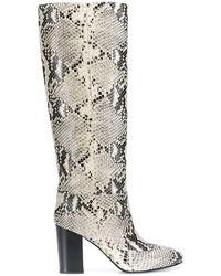 Twin Set Snakeskin Effect Knee-high Boots - Green