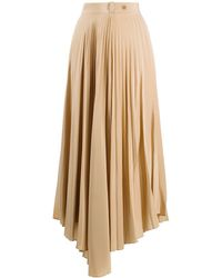Chinti & Parker Asymmetric Pleated Skirt - Natural