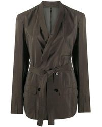 Lemaire Belted Double-breasted Blazer - Brown