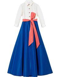 Carolina Herrera リボン シャツドレス - ブルー
