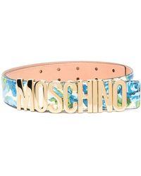 Moschino Ремень С Цветочным Принтом И Логотипом - Синий