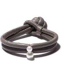 Mizuki 14kt Gold Pearl Wrap Bracelet - Metallic