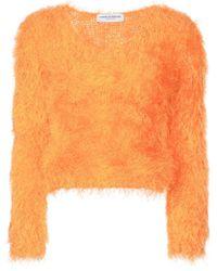 Marine Serre Fluffy Knitted Sweater - Orange