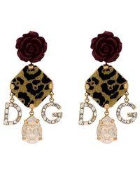 8f2a2ff57abb Dolce   Gabbana - Pendientes de rosa con charm con motivo de leopardo - Lyst