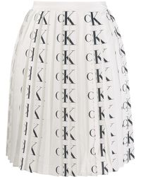 Calvin Klein ロゴ プリーツスカート - ホワイト