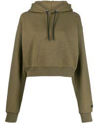 Reebok X Victoria Beckham Cropped embroidered logo hoodie - Vert