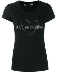 Love Moschino Embellished logo T-shirt - Noir