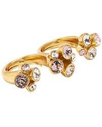 Oscar de la Renta Crystal-embellished Double Finger Ring - Metallic