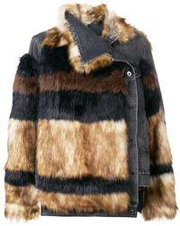 Sacai - Denim Faux Fur Jacket - Lyst