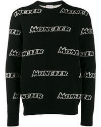 Moncler Intarsia Trui Met Logo - Zwart