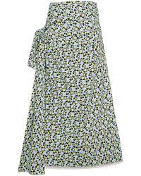 Marni Floral Print Side-tie Skirt - Blauw