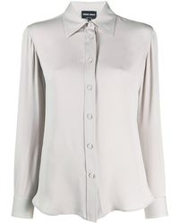 Giorgio Armani Long-sleeved Silk Shirt - Gray