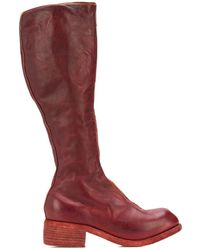 Guidi Mid-calf Zip-up Boots - Red