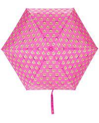 Moschino Paraguas con estampado de ositos - Rosa
