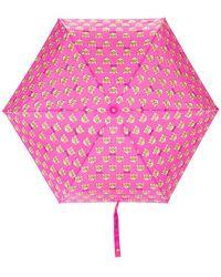 Moschino Parapluie à logo ourson imprimé - Rose