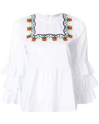 Vivetta - Embroidered Ruffle Blouse - Lyst