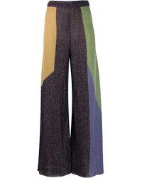 M Missoni Colour Block Flared Lurex Trousers - Purple